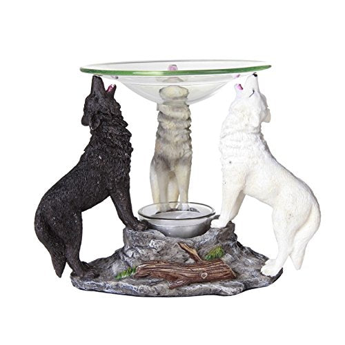 Novelty Tri Colored Wolves Wolfpack Scented Oil Warmer Diffuser Collectible Figurine