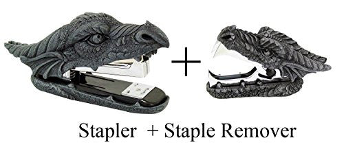 Novelty Guardian Dragon Stapler and Stapler Remover Office Desktop Stationery Set