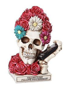 Floral Red Rose Skull Eternal Love Skull Collectible Figurine 6 inch Love Tribut