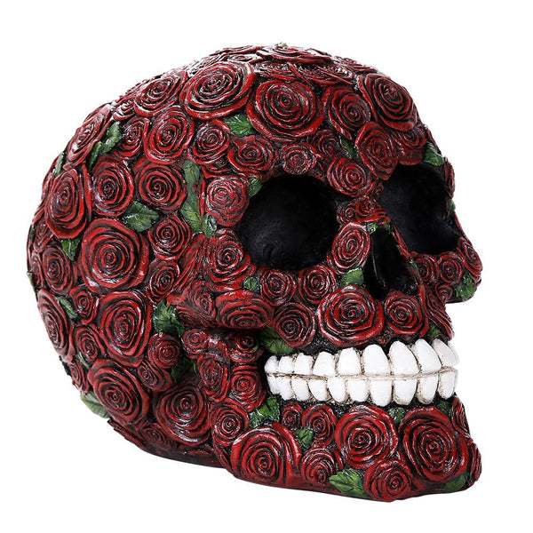 Ornate Red Roses Flower Human Skull Figurine
