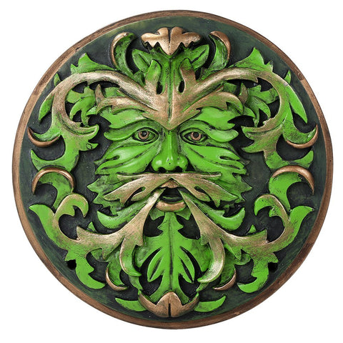 Greenman Round Wall Plaque Celtic Decor Spring Pan by Oberon Zell
