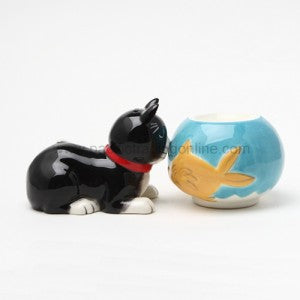 Cat and Fish Magnetic Salt and Pepper Shaker Home Kitchen Decor