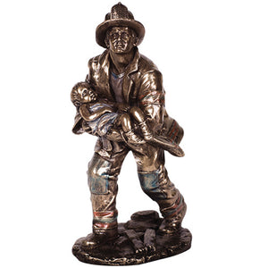 PTC 8.5 Inch Fireman Rescuing a Small Child Resin Statue Figurine