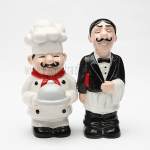 Chef and Waiter Magnetic Ceremic Salt and Pepper Shakers