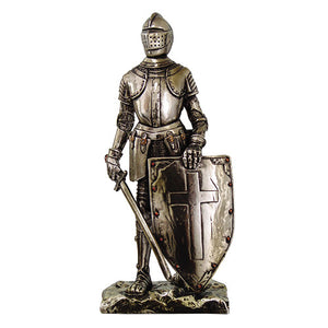 "Crusader Knight Statue Silver Finishing Cold Cast Resin Statue 7"" (8718)"