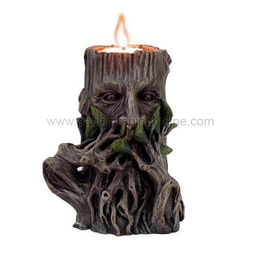 PTC 5 Inch Speak No Evil Greenman Figurine Candle Holder, Brown and Green