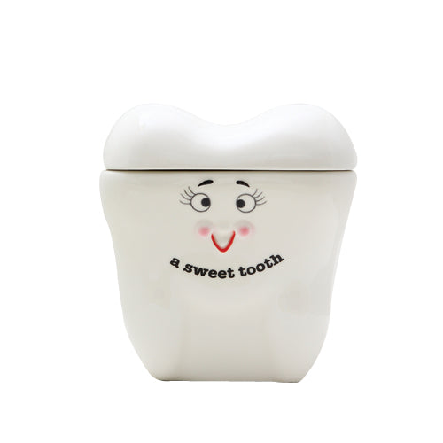 7 Inch Sweet Tooth Giant Tooth Shaped Ceramic Cookie Jar Figurine