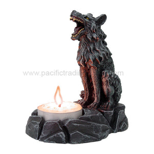 PTC 4 Inch Howling Wolf Hand Painted Tea Light Candle Holder, Gray