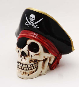 "PTC Pacific Giftware Ceramic Pirate Skull Savings Piggy/Coin/Money, Bank 6.5"" H"