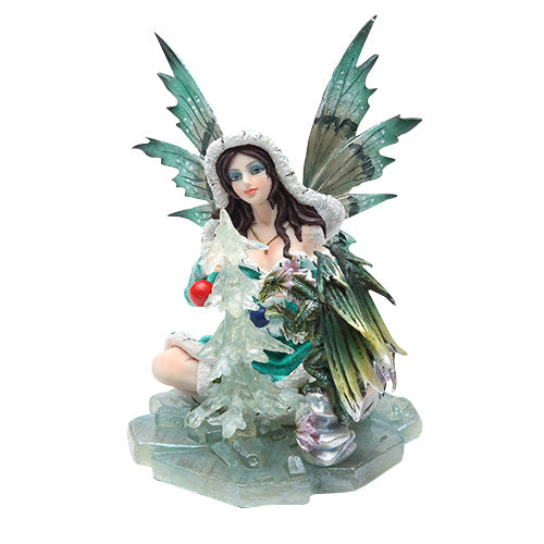 PTC 6 Inch Winter Fairy with Green Dragon Mythological Statue Figurine
