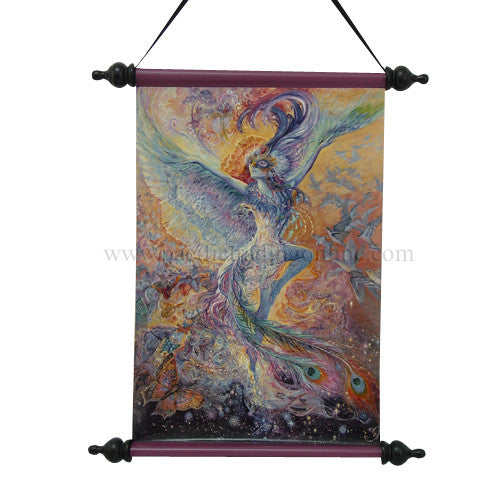 Josephine Wall Blue Bird Designer Art Scrolls With Wooden frame