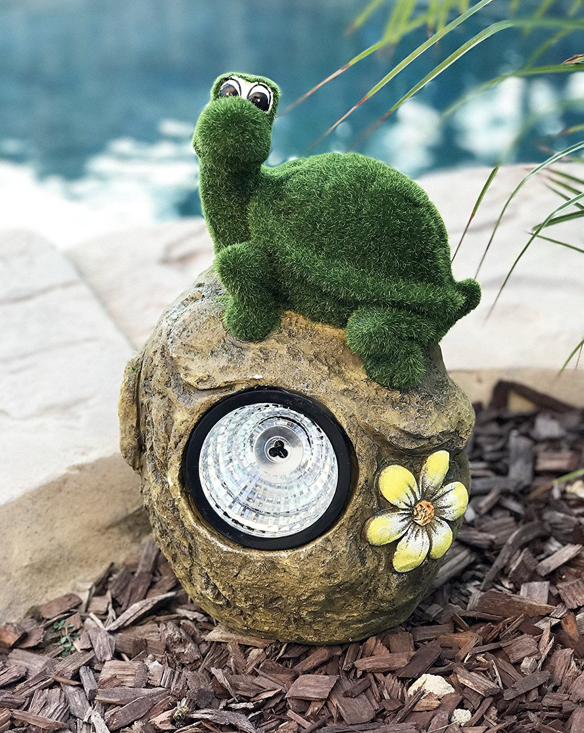 Solar Powered Tortoise On Garden Rock Sculpture In Flocked Artificial Grass Decorative Sculpture 13.5 Inches