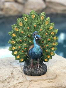 Majestic Peacock Dance Opening Feathers LED Lighted Decorative Indoor Outdoor Statue 12 Inch