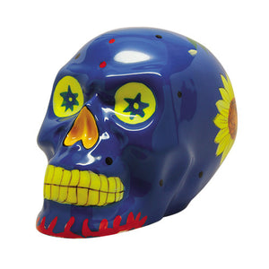7 Inch Blue Day of The Dead Floral Pattern Skull Statue Figurine