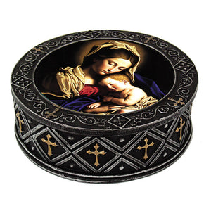PTC 4.5 Inch Madonna with Child Inlayed Scene Jewelry/Trinket Box Figurine