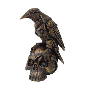 PTC 6 Inch Steampunk Inspired Raven on Skull Resin Statue Figurine