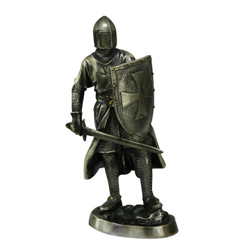 "Medieval Crusader Knight Statue Bronze Finishing Cold Cast Resin Statue 7"" (9960)"