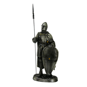 PTC 7 Inch Armored Crusader Knight with Shield and Spear Statue Figurine