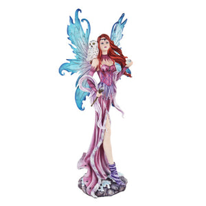 26 Inch Purple Fairy Goddess with White Snow Owl Statue Figurine