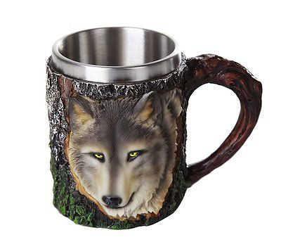 Wild Wolf Mug Stainless Steel Liner Collectible Tankard 12oz