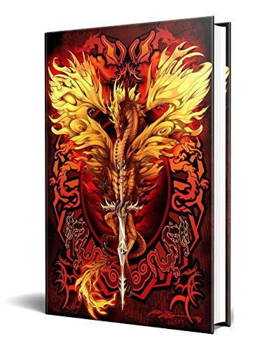 "Dragon Fantasy Flame Blade Embossed Journal Diary Notebook with Strip 6"" X 8"""