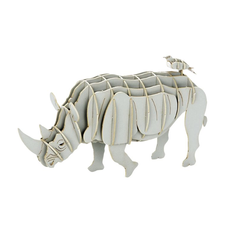 Japanese Art of Paper Craft Rhinoceros Premium 3D Paper Puzzle Educational Model Kit Challenge Gift Made in Japan
