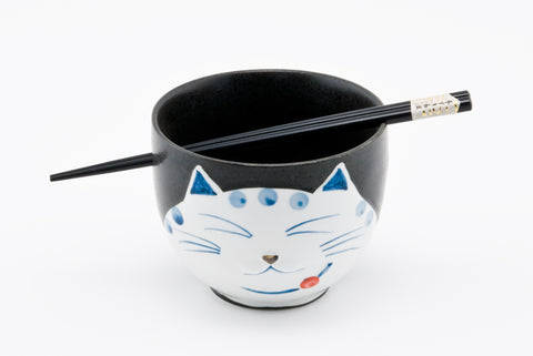 5 Inches Cat Kitty Bowl with Chopstickers 2 pcs Gift Set