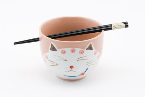 5 Inches Cat Kitty Bowl with Chopsticks 2 pcs Gift Box