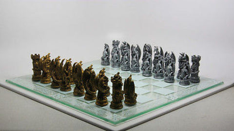 Gold Silver Fantasy Dragon Glass Board Chess Set