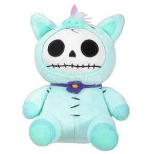 Furrybones Teal Unicorn Unie Wearing Purple Daisy Collar Small Plush Doll