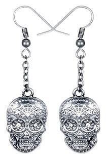 0.91 Inch Day of the Dead Skull Fish Hook Earrings, Silver Colored