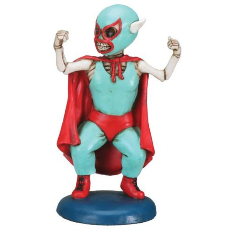 Day of The Dead Mini Lucha Dore Wrestler Skeleton Figurine