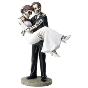 SUMMIT COLLECTION Groom Carrying Bride Skeleton Face Wedding Couple Statue Figurine