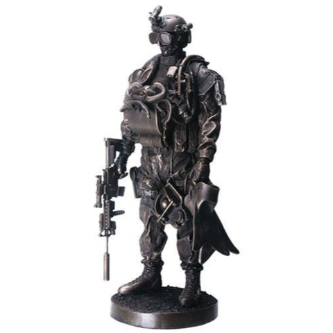 "YTC Navy Seal 13"" Bronzed Resin Military Statue #8086 Modern Era Navy Seal"