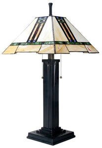 YTC 26 Inch Stained Glass Pattern Shade Mission Lamp with Black Base