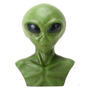 YTC Bright Green Extraterrestrial Alien Head Bust Figurine Display
