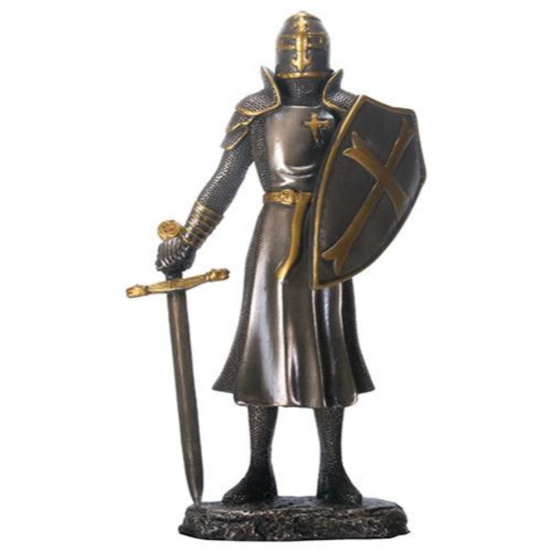 "YTC 6.25"" Cold Cast Bronze Color Knight of The Cross Figurine with Sword"