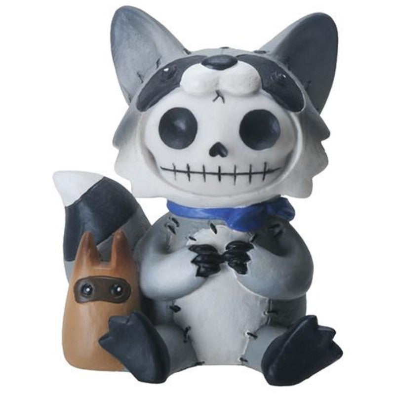 SUMMIT COLLECTION Furrybones Bandit Signature Skeleton in Raccoon Costume with a Little Accomplice