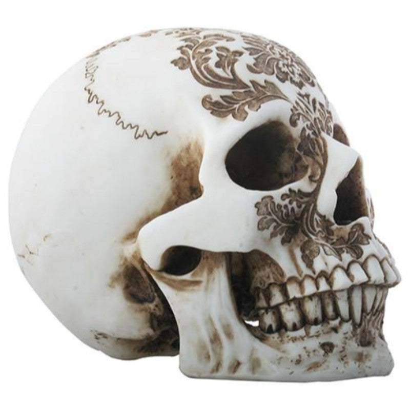 Summit Collection Sculpted Damask Pattern Skull Figurine Floral Motif Edged Sculpture Collectible 8 Inch L