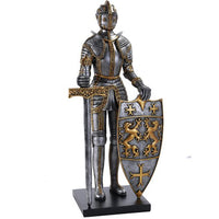 Medieval Times King's Royal Guardian Knight in Shining Armor Sword and Shield Statue 22 Inch