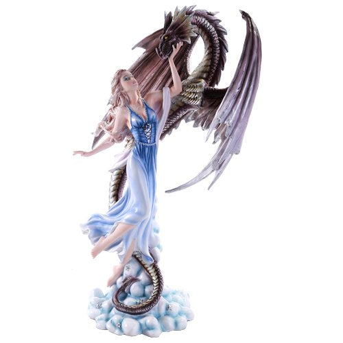 Large Dragon and Fairy Rising Above Clouds and Stars Statue Collectible 22 Inch
