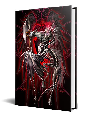 "Dragon Fantasy LichBlade Skeleton Dragon Embossed Journal Diary Notebook with Strip 6"" X 8"""