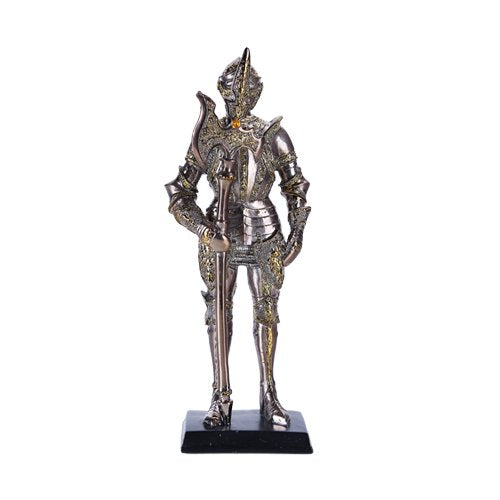 "7"" Tall Medieval Knight Statue Figurine Silver Suit of Armor with Stand"