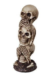 See No Evil Hear No Evil Speak No Evil Stacked Skull Tower Gothic Tabletop Decor 7.5 H