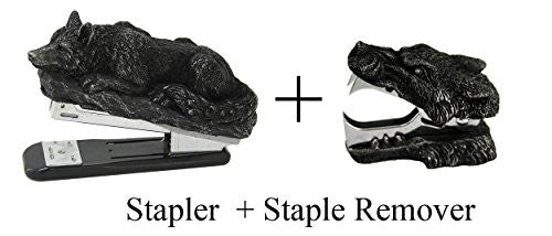 Novelty Lone Wolf Stapler and Stapler Remover Office Desktop Stationery Set