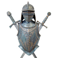 Medieval Times Knight Battle Armor Weaponry Sword Display Wall Sculpture 30 Inch