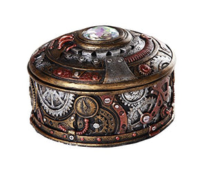Steampunk Gearwork Time Travel Lidded Stash Box Sculptural Decor 4 Diameter Round Box