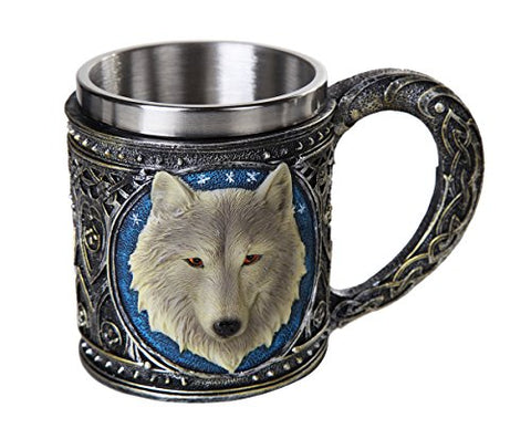 Lone Spirit Wolf Celtic Magic 11oz Resin Coffee Mug with Stainless Steel Insert
