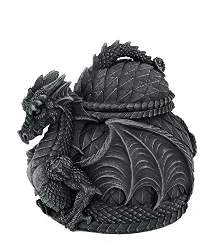 Medieval Stone Dragon Lidded Trinket Jewelry Box Decorative Keepsake Box Round