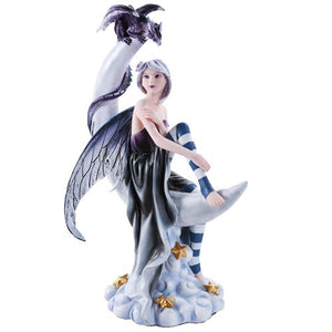 Celestial Fairy Seated on Crescent Moon with Fantasy Dragon Figurine 13 Inch